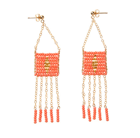 Diamond Pendant 5 Tassel Earring - SALMON