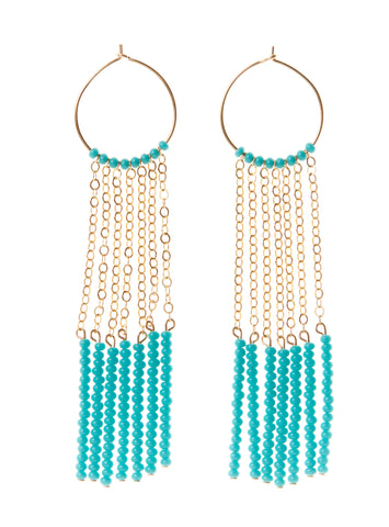 7 Tassel XS Hoop Earrings - TURQUOISE