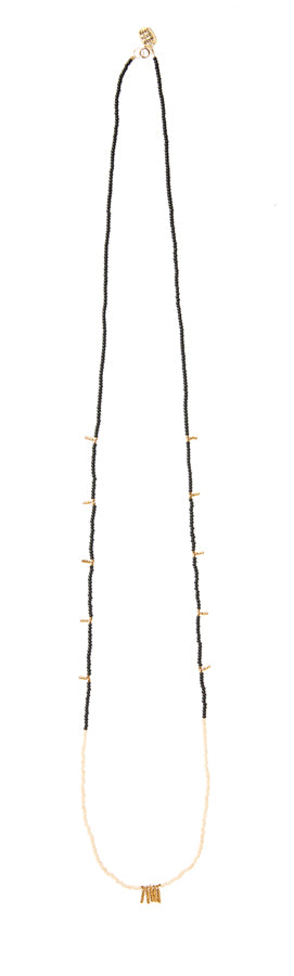 Long Mixed Bar Beaded Necklace - BLACK/PINK/GOLD