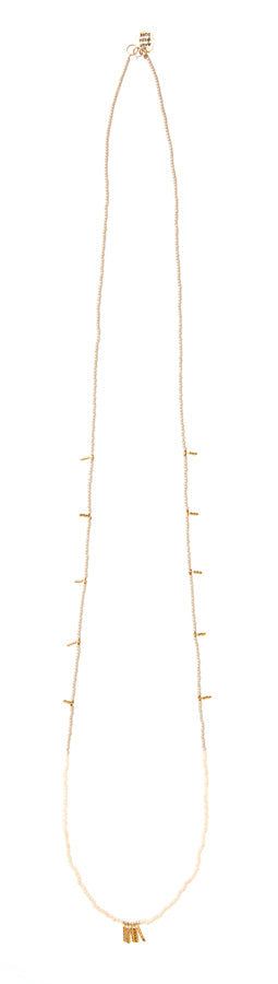 Long Mixed Bar Beaded Necklace - TAUPE/PINK/GOLD
