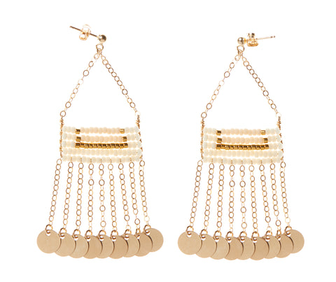 Samburu Earring with Shilingini - OFF WHITE/PINK