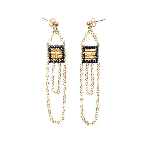 XS Pendant Earring with Double Chain - BLACK