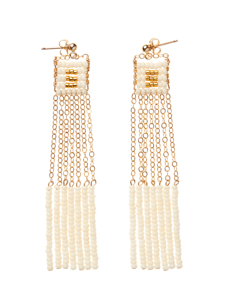 XS Pendant Earring with Long Beaded Bars - OFF WHITE