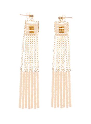 XS Pendant Earring with Long Beaded Bars - PINK