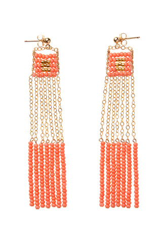 XS Pendant Earring with Long Beaded Bars - SALMON