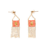 XS Pendant Earring with Chain Tassel - SALMON