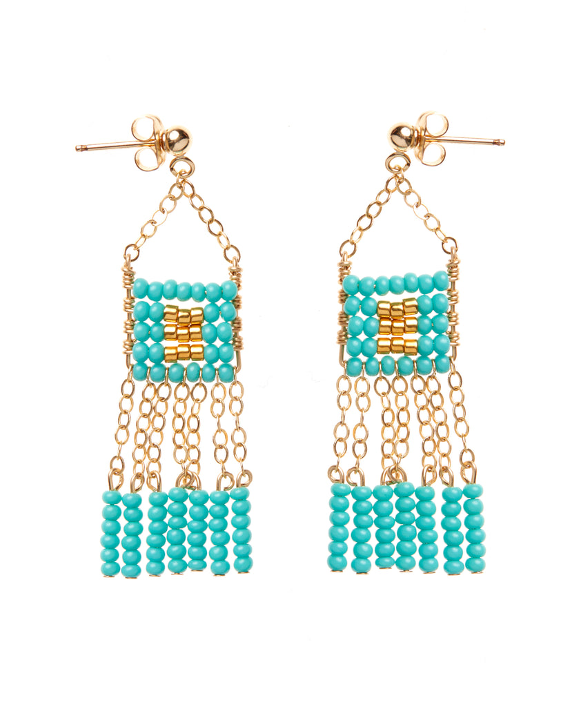 XS Pendant Earring with Beaded Bars - TURQUOISE