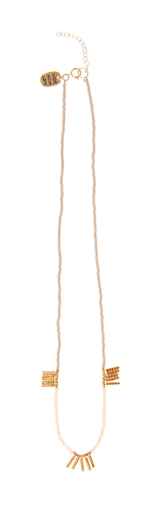 5 Bar Block Kisongo Necklace - PINK/TAUPE