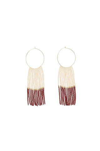 Pembetatu Large Hoop Earrings - PINK/BURGUNDY/GOLD