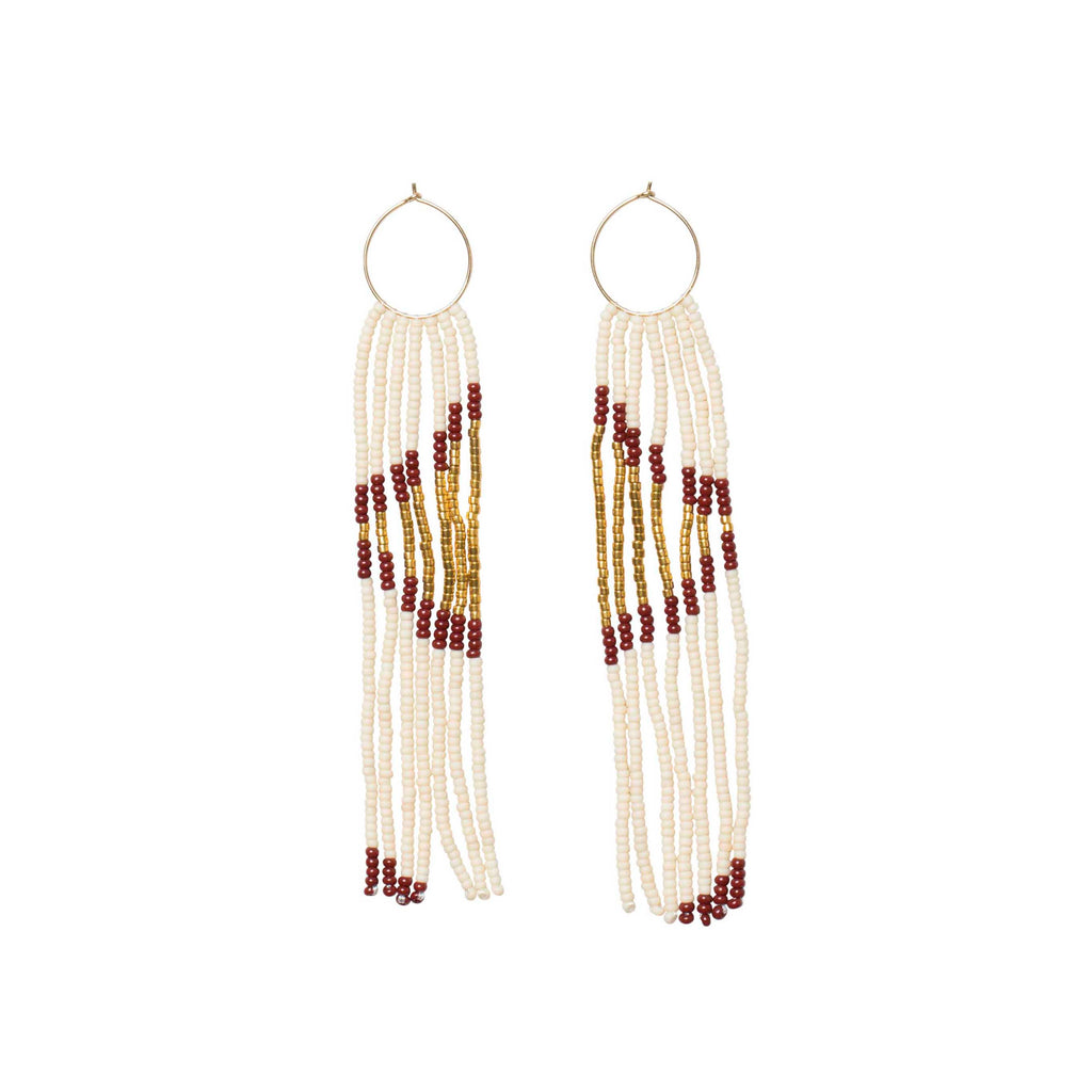 Pembetatu Extra Small Hoop Earrings - PINK/GOLD/BURGUNDY