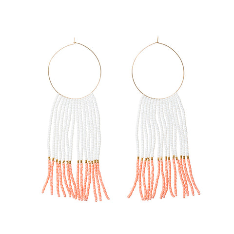 Pembetatu Large Hoop Earrings - WHITE/SALMON/GOLD