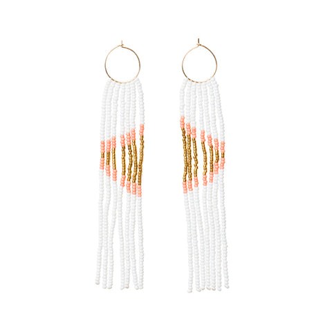Pembetatu XS Hoop Earrings - WHITE/SALMON/GOLD
