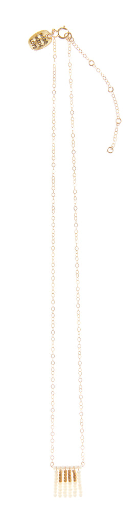 Short Block Tassel Necklace on Chain - OFF WHITE