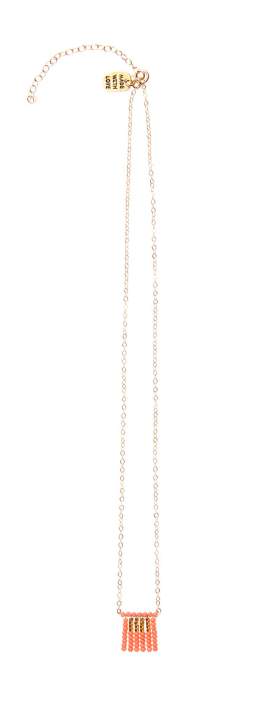 Short Block Tassel Necklace on Chain - SALMON/GOLD