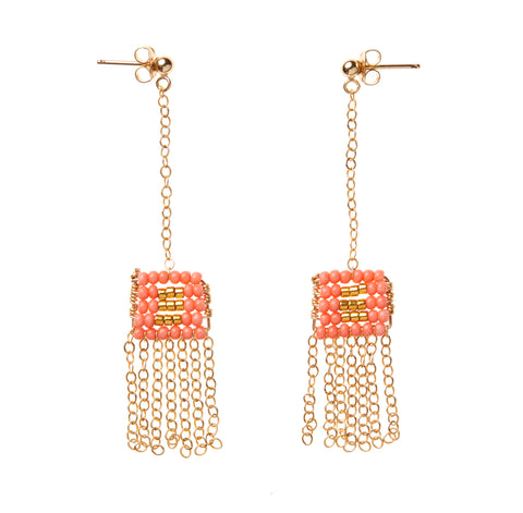 XS Pendant Drop Earring W/ Chain Tassel - SALMON