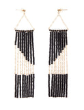 Geometric Earring with Chain - BLACK