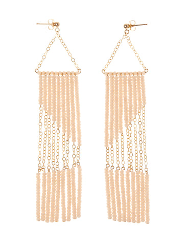 Geometric Earring with Chain - PINK