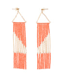 Geometric Earring with Chain - SALMON