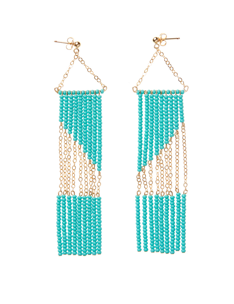 Geometric Earring with Chain - TURQUOISE