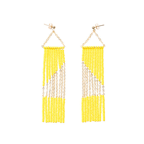 Geometric Earring with Chain - YELLOW