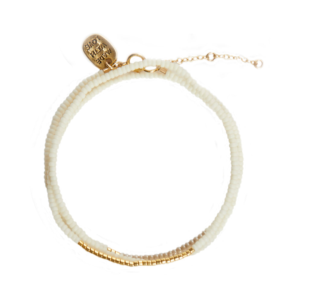 Triple Wrap Endito Bracelet -OFF WHITE/TAUPE/GOLD
