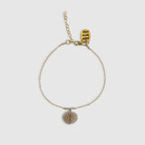 Amani Bracelet With Beaded Disk [ peach moonstone ]