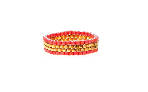 4 Line Woven Ring -  CORAL