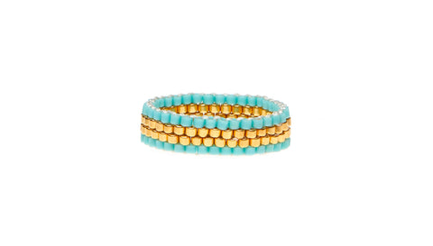 4 Line Woven Ring - TURQUOISE