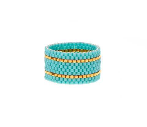 Wide Woven Ring - TURQUOISE