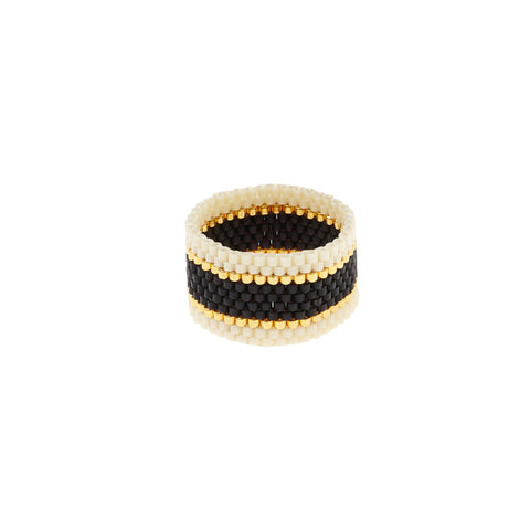 Wide Woven Ring - BLACK/CREAM
