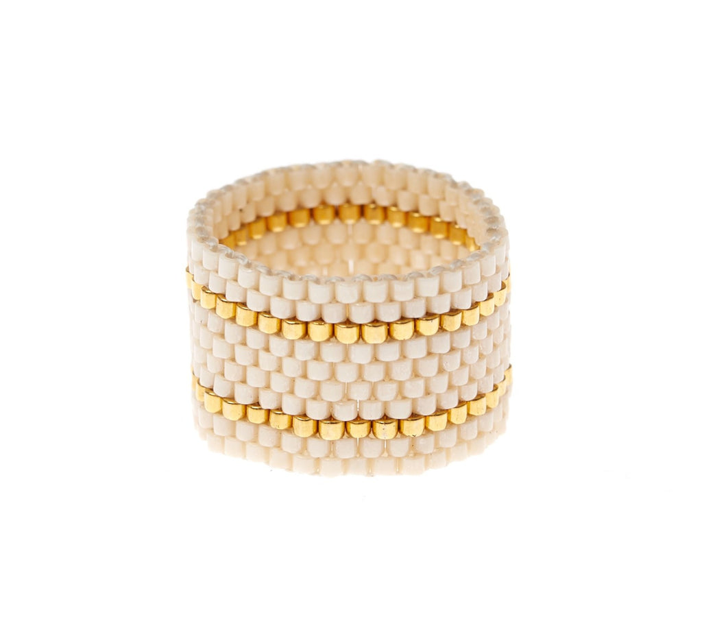Wide Woven Ring - PEARL/GOLD