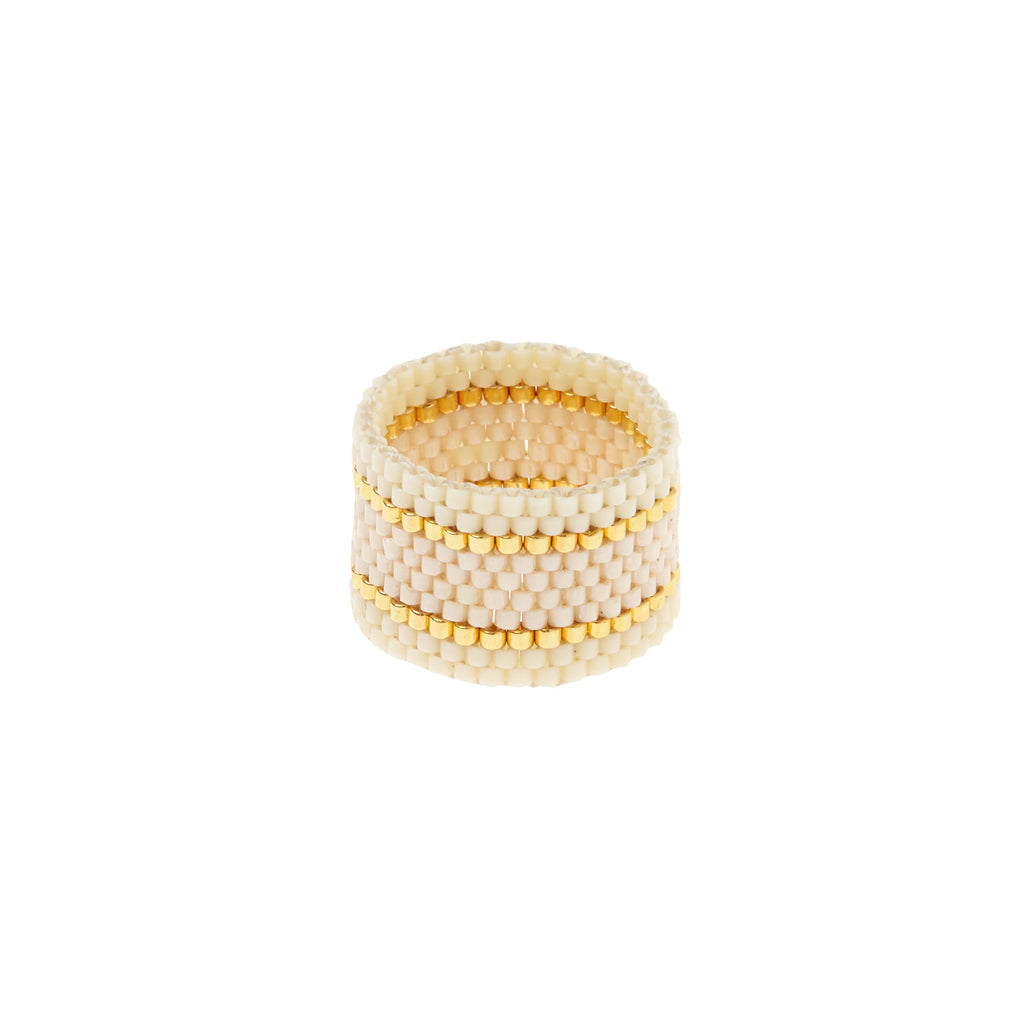 Wide Woven Ring - PEARL/CREAM