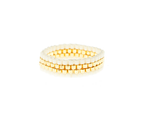 4 Line Woven Ring - CREAM