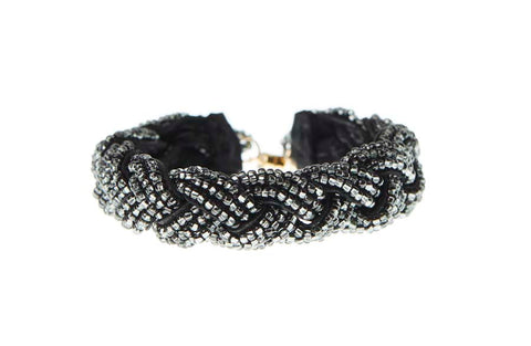 Braided Leather Bracelet - SHINY GRAPHITE