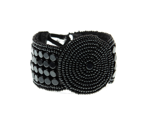 Leather Bracelet Disk - BLACK