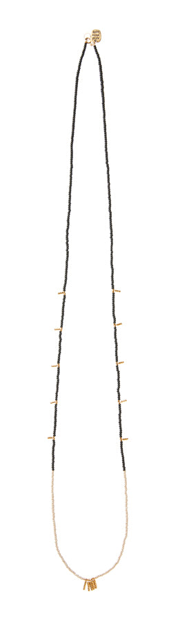 Long Mixed Bar Beaded Necklace - BLACK/TAUPE/GOLD