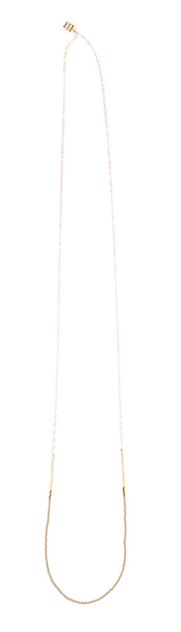 Long Single Strand Necklace - TAUPE/PINK/GOLD