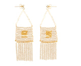 Pendant Earring with Beaded Tassels