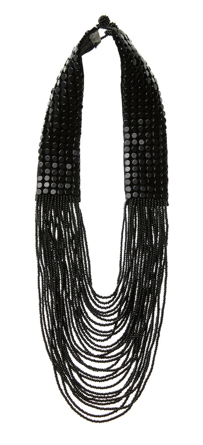 Short Leather Necklace - BLACK