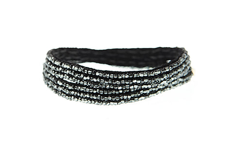 Simple XS Double Wrap Bracelet - SHINY GRAPHITE