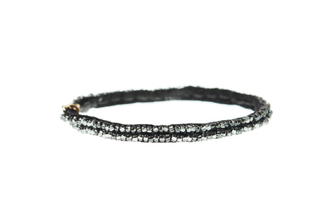Simple XS Leather Bracelet - SHINY GRAPHITE