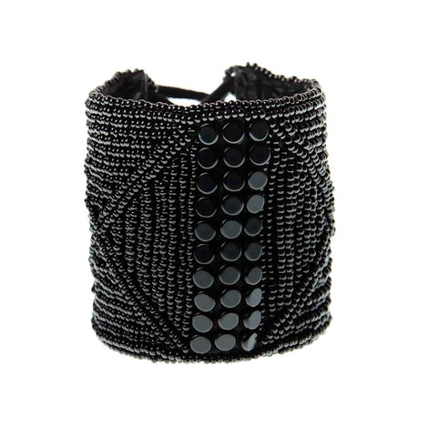 Wide Leather Cuff - BLACK