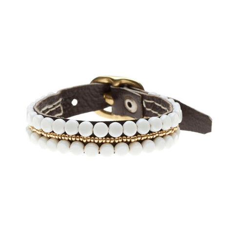 Leather White & Gold Buckle Bracelet