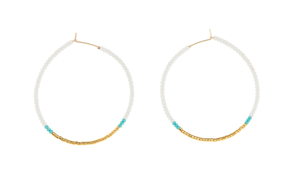 Small Hoop Earrings - WHITE/TURQUOISE/GOLD