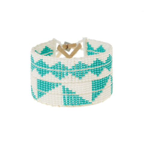 Mixed Pattern Bracelet - White & Turquoise
