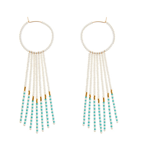 Porcupine Earrings - WHITE/TURQ/GOLD