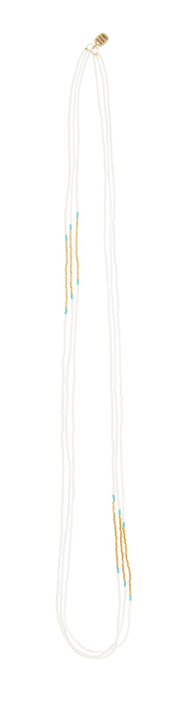 Triple Endito Necklace - TURQUOISE/WHITE/GOLD