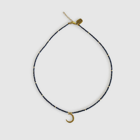 Ngao Short Necklace With Half Moon [ sapphire ]