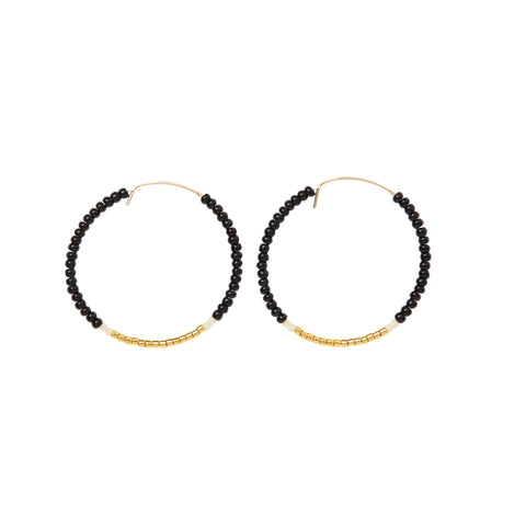 Small Hoop Earrings - BLACK/GOLD/CREAM