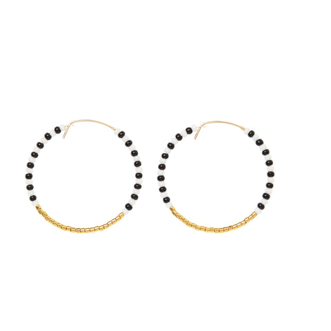 Small Zebra Hoop Earrings - BLACK/WHITE/GOLD